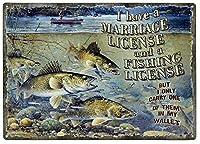 ブリキの金属は私の結婚と釣りの免許をマークしますが、運ぶだけです