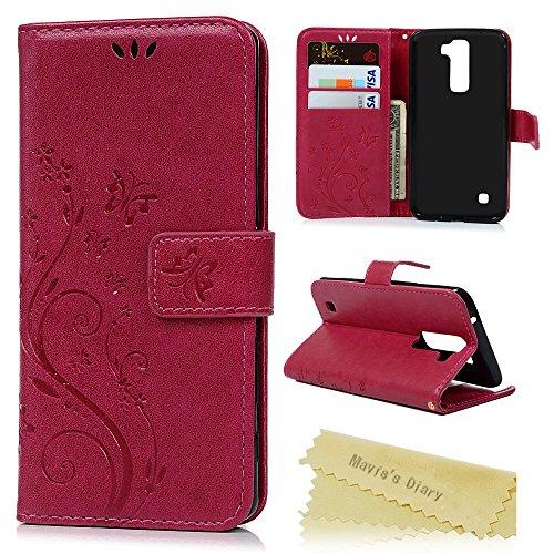 LG K10 2016 Funda Libro de Suave PU Leather Cuero Impresión - Mavis's Diary Carcasa Con Flip case cover,Cierre Magnético,Función de Soporte,Billetera con Tapa para Tarjetas-Diseño de Mariposa y flor,Rose Red