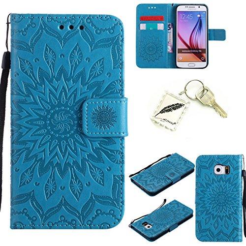 Silicona sof tshell PU Funda para Galaxy S6(5,1pulgadas) funda case cover Funda Strass–PRS Bumper Carcasa Silicone Case  + Exquisite Key Chain X1 # KC beige 1