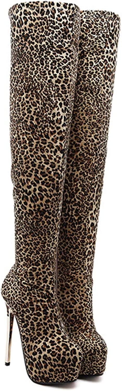 Women Over Knee Boots Thin High Heels Sexy Leopard Round Toe Fashion Party shoes Woman Winter Warm shoes