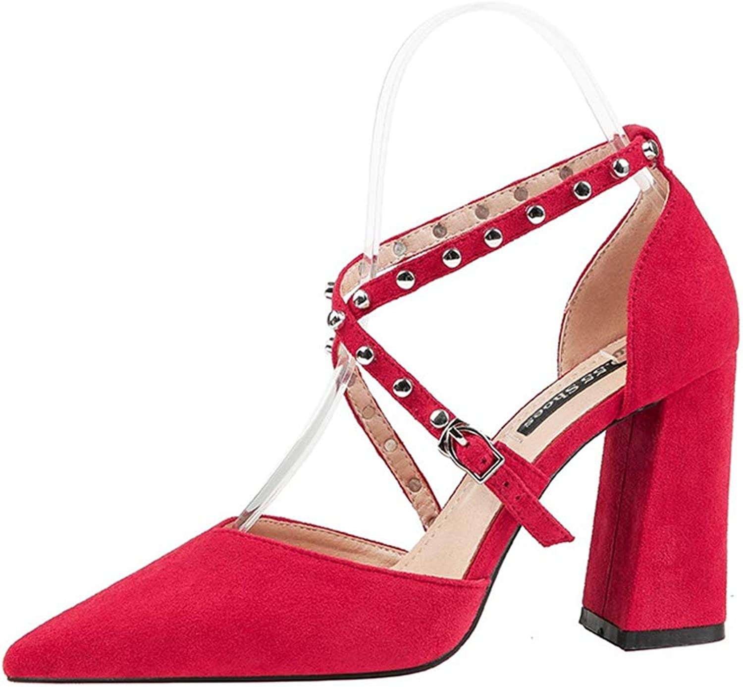CYBLING Women's Closed Pointed Toe Buckled Crisscross Strap Chunky High Heel Dress Pumps
