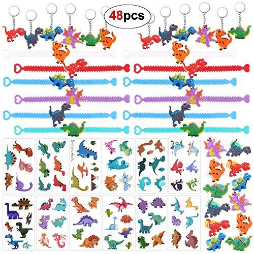 HOWAF 48 Piezas Juguetes de Fiesta Dinosaurios Pulsera, Dinosaurio Anillo, Dinosaurio Tatuajes, Dinosaurios Llaveros para Relleno piñatas y Bolsas de Regalo de Fiestas de cumpleaños Infantil