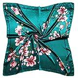 Vabovin 35' Fashion Neckerchief Women's Silk Like Big Satin Square Hair Scarf Accessory (Blue Green Flowers)