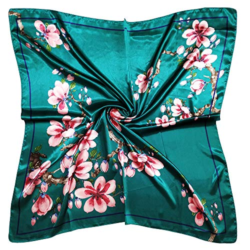 Vabovin 35 Fashion Neckerchief Women's Silk Like Big Satin Square Hair Scarf Accessory (Blue Green Flowers)