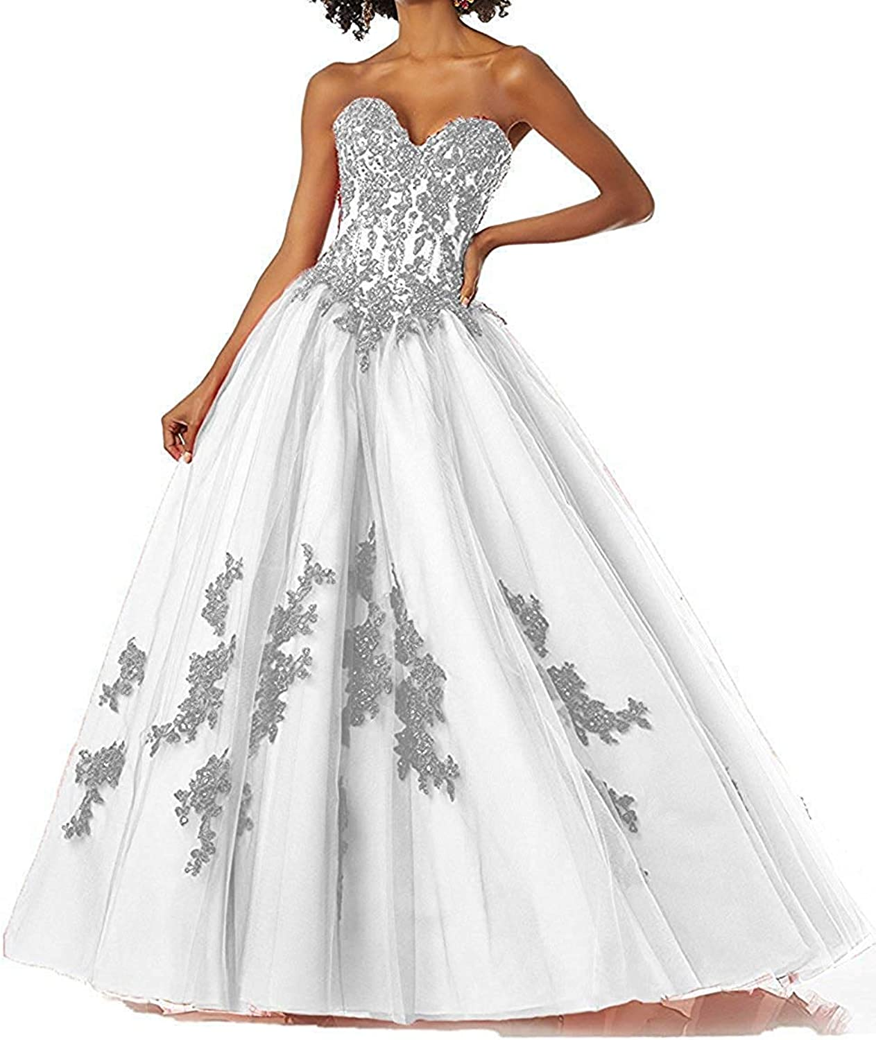WZW Women's Long Beaded Applique Strapless Quinceanera Dresses Tulle Prom Party Formal Gowns