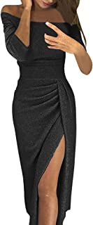 Women Evening Dresses Off Shoulder High Slit Bodycon Dress Long Sleeve Party Dresses