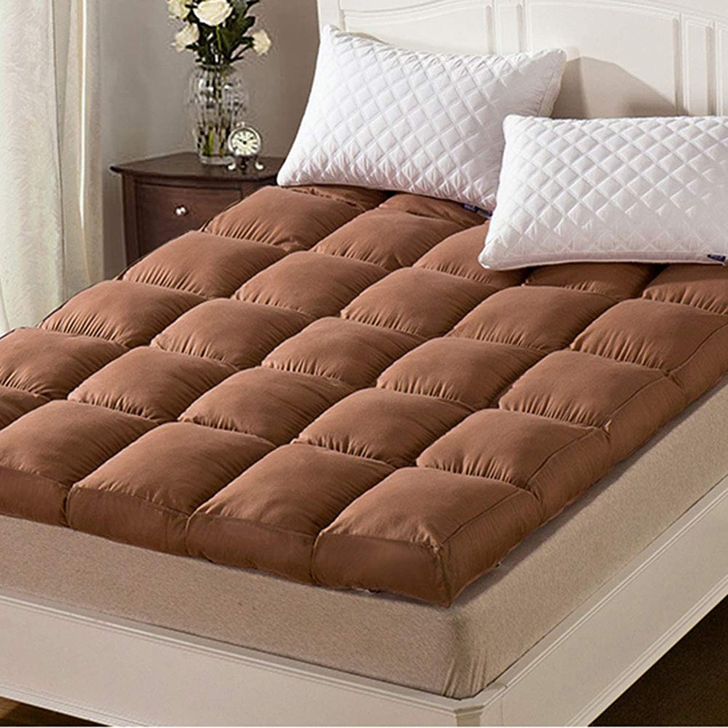 Thick Mattress Topper, Polyester Hypoallergenic Quilted Folding Futon Mattress Sleeping Sofa Bed Mattress pad -Coffee 120x200cm(47x79inch)