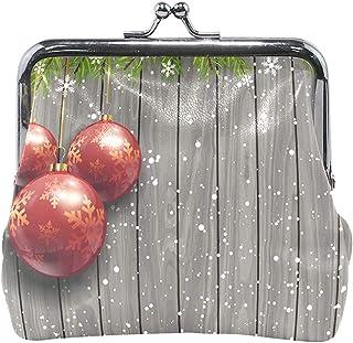 Adornos navideños Monedero de Madera Monedero Monedero Vintage Moda PU Cuero Tarjeta de Dinero Titular para Mujeres Niñas Adolescentes Niños