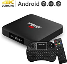 EASYTONE Android 7.1 TV Box, 2GB RAM 16GB ROM Quad Core Processor Support 3D 4K Smart Android Boxes with Mini Keyboard - Black