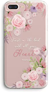 iPhone 5s Girls Case,iPhone SE Women Case,Pink Purple Flowers Floral Spring Elegant Trendy Rose Blooms Christian Bible Verses Inspirational Proverbs 3:5 Compatible Clear Soft Case for iPhone 5S/SE