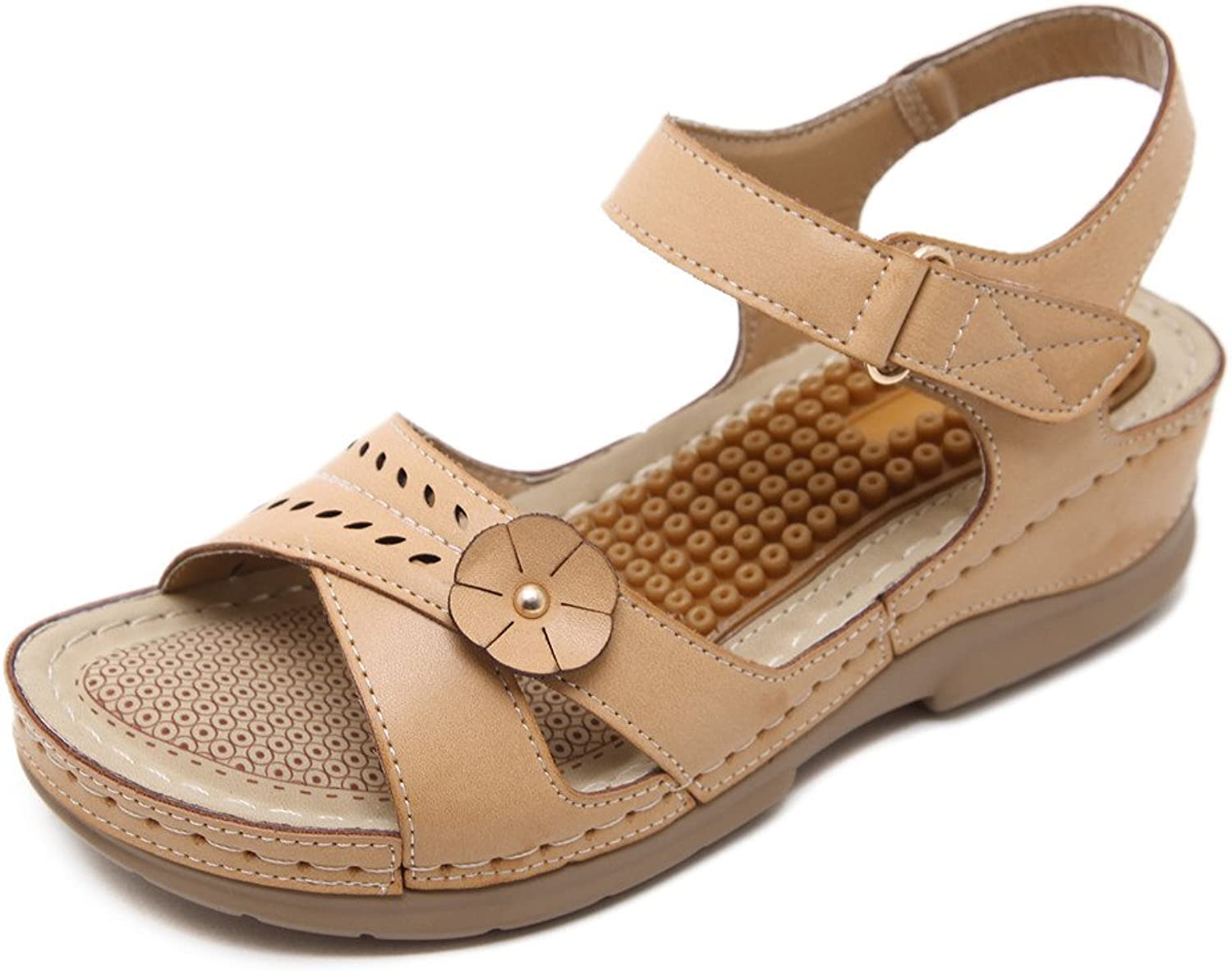 ElFY Woman's Summer Wedge Sandals Low Heel Massage Breathable shoes