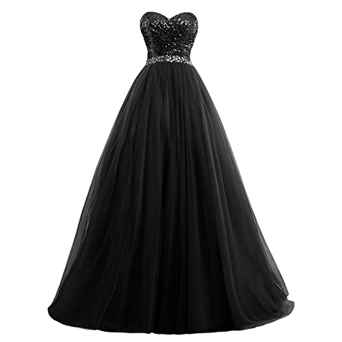 1f48db1c9fc Fanciest Women s Sweet 16 Tulle Sequin Ball Gown Prom Dresses for  Quinceanera
