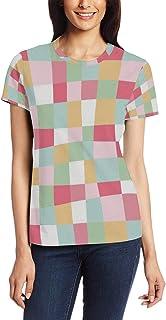 XiangHeFu T Shirt voor Vrouwen Meisjes Vierkant Regenboog Patroon Aangepaste Korte mouw
