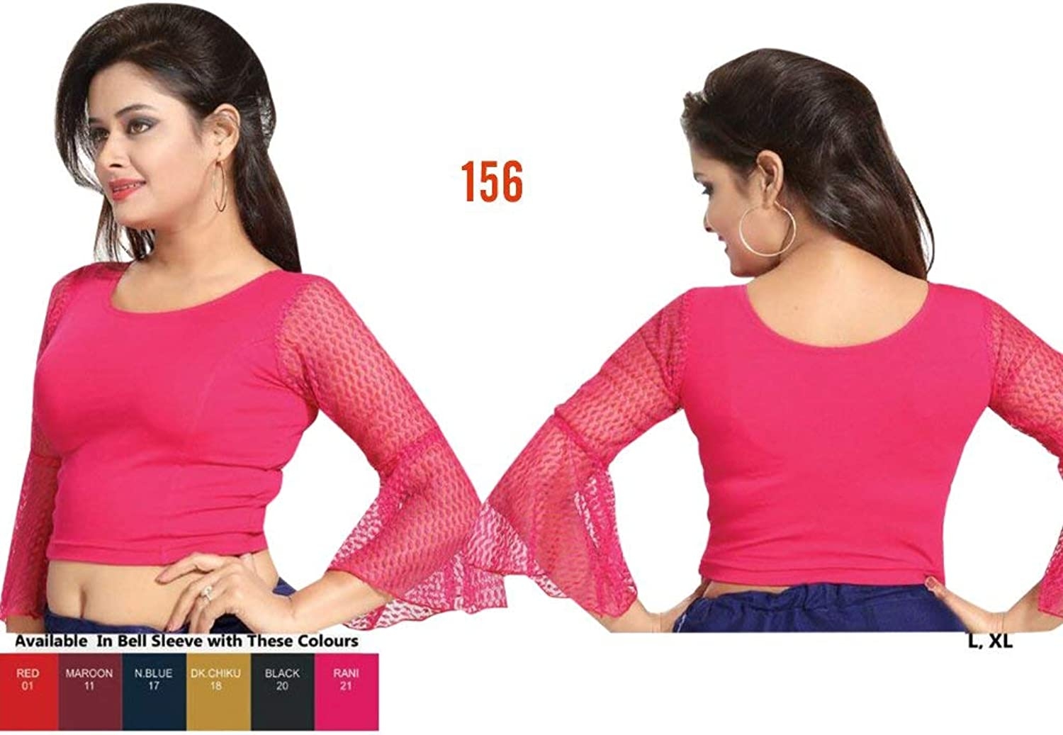 Pink Colour Stretchable Lycra Cotton Readymade Saree Blouse Sari Choli Crop SHRI BALAJI SILK (L,XL) 157