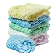 Muslin Burp Cloths (6-Pack), Natural Washcloth Baby Wash Shower Towel, Multicolor Baby Bath Cloth Wipes, 12x12 in Soft Washcloths, Newborn Bath Baby Wipes for Sensitive Skin, Cotton Gauze Muslin Cloth