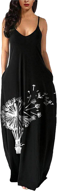 Women's Summer Mesa Mall Dresses Spaghetti Strap wholesale Maxi Dress V Neck Print S