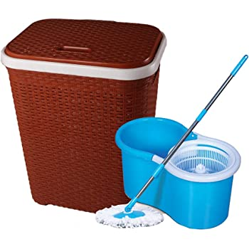 Esquire Rattan Laundry Basket with Spin Mop