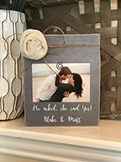 He Asked She Said Yes Personalized Engagement Gift Personalized Engagement Frame Wedding Gift She Said Yes Frame