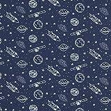 Baumwollpopeline Weltraum | PETIT CITRON – marineblau —