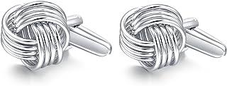 Honey Bear Herren Manschettenknöpfe Lieben Knoten Hochzeit Cufflinks Knoten-Form 1 Paar Silber