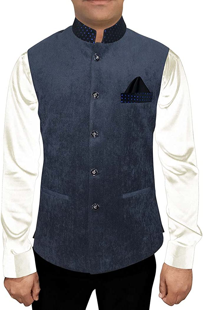 INMONARCH Modi Jacket for Men Dark Navy Corduroy Nehru Vest Traditional NV93
