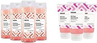 Amazon Brand - Solimo Clarifying Pink Grapefruit Body Wash, 2% Salicylic Acid Acne Treatment, Dermatologist Tested & Solim...
