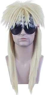 Angelaicos Unisex Long Blonde Mullet Wig 60s 70s Punk Disco Rocker Flat Top Wigs with Bandana