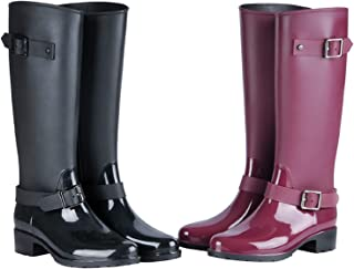 Botas de Agua Mujer Niña Botas de Lluvia Altas Impermeable Wellington Boots
