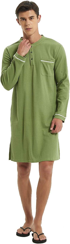 Mucwer Men's Cotton Nightshirt Sleeve Pajamas Comfy Big & Tall Nightgown Henley Sleepshirt Long Nightwear (S--XXXL)