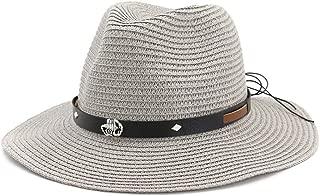 CHENDX High Quality Hat, Fashion Women Men Straw Sun Hat Beach Sun Hat Summer Belt Outdoor Casual Panama Straw Hat Jazz Hat Size 56-58CM (Color : Gray, Size : 56-58CM)