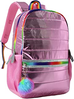 Girls Elementary School Backpack Holographic Lightweight Kids Teen School Bag Pink