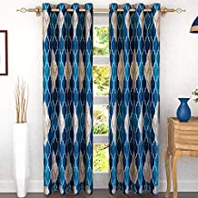 Story at Home 350 GSM Polyester 2 Pieces Door Curtain, Blue/Cream, 118 cm x 215 cm