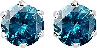 1/2-10 Carat Total Weight Blue Diamond Stud Earrings 6 Prong Push Back