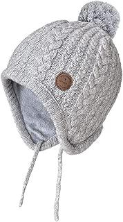 SOMALER Toddler Kids Winter Ear Flap Beanie Hat Boy Girl Fur Pompom Knit Hats