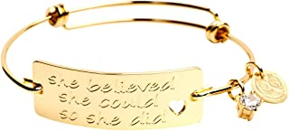 """Expandable Inspirational Stackable Charm Bracelet """"She Believed She Could So She Did"""