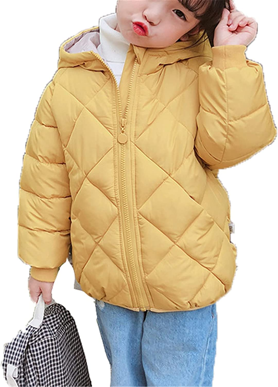 Snhpk Boys Girls Duck Down Coat Padded Thicken Parka Fur Quilted Hooded Warm Winter Outwear Puffer Jacket