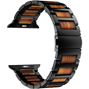 iiteeology Compatible with Apple Watch Band 44mm 42mm 40mm 38mm, Natural Wooden Stainless Steel Link Bracelet Strap for Apple Watch SE Series 6 Series 5 4 3 2 1 - Black