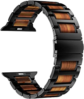 iiteeology Compatible with Apple Watch Band 40mm 38mm, Natural Wooden Red Sandalwood Stainless Steel Link Bracelet Strap for Apple iWatch Series 5/4/3/2/1 - Black