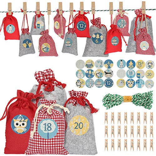 AIMTOP 24 Adventskalender zum Befüllen Stoffbeutel, Weihnachten Geschenksäckchen mit Adventszahlen Aufkleber, Holzklammern, Weihnachtskalender, Jutesäckchen Adventskalender für DIY Füllung Bastelset