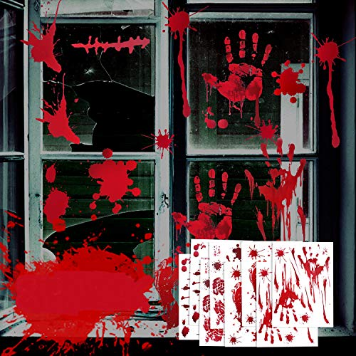 75 PCS Halloween Window Clings, 8 Sheets Bloody Halloween Window Decorations, Scary Door Decorations, Indoor Outdoor Window Decals for Halloween Vampire Zombie Party Decorations Supplies (Set 2)