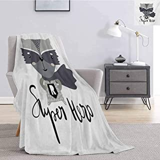 Luoiaax Nursery Children's Blanket Cartoon Style Raccoon Super Hero with a Costume and Cape Childish Animal Design Lightweight Soft Warm and Comfortable W57 x L74 Inch Multicolor