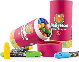 Jar Melo Silky Crayons -12 Colors; 3 In 1 Effect (Crayon- Pastel- Watercolor) Gel Crayons -Twistables, Jumbo, Washable, Non-Toxic, Slick; Art Supplies Colors for Adults/ Kids / Toddlers / Preschooler