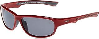 نظارات شمسية للرجال من تيمبرلاند TB919466D63 - بلون احمر لامع / رمادي عدسات مستقطبة - مصنوعة بتقنية الحقن