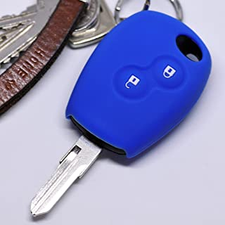 Silikon Soft Case Schutz Hülle Auto Schlüssel 2 Tasten Blau kompatibel mit Dacia Dokker Sandero Duster Lodgy Logan Renault Clio Twingo