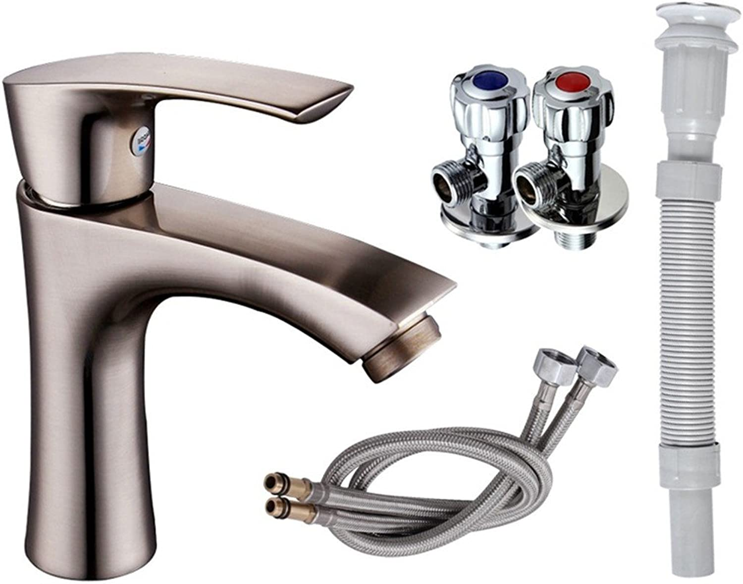 Hlluya Professional The whale full Brass Body, hot and cold water mixer SINGLE HOLE WASH-hand washing your face with the following basin faucet, brass faucets B+2 root water inlet valve 2 + 2 corners