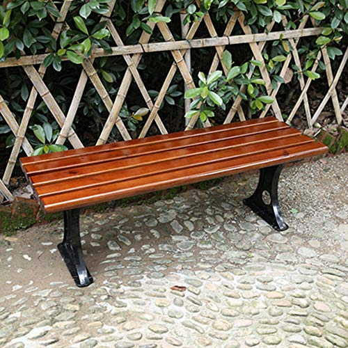 Garden bench plastic bench, Rugged bench without backrest, Weatherproof and anticorrosive park bench for outdoor seats, Metal feet can be fixed to the floor