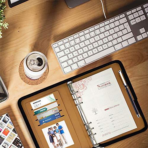 【新品3日セール】システム手帳A5サイズ6穴リング内径21mmビジネス手帳カバーバインダーPUレザーメンズレディース通用(ブラウン)