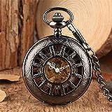 XQKQ Reloj de Bolsillo Reloj de Bolsillo mecánico Negro Reloj Colgante de Bolsillo con Viento Manual Reloj Esqueleto Hueco Números Romanos Pantalla Reloj Retro Regalos