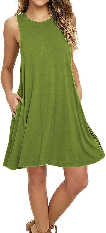 Women's Summer Sleeveless Dresses Swing Causal Loose Tank Beach Cover up