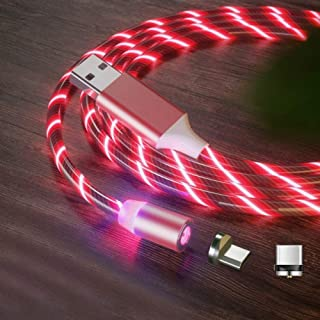 GuiPing 2 in 1 USB to Type-C/USB-C + Micro USB Magnetic Absorption Colorful Streamer Charging Cable, Length: 1m (Color : R...